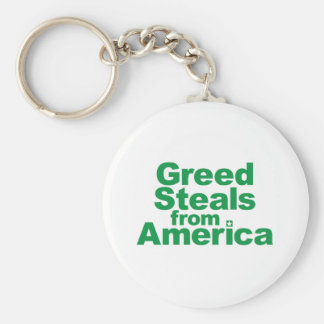 Greed Steals from America Basic Round Button Key Ring