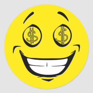 Greedy Money Eyes Yellow Smiley Face Round Sticker