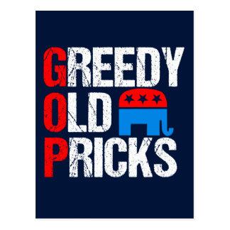 Greedy Old Pricks Funny Anti GOP Postcard