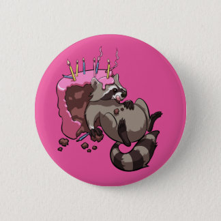 Greedy Raccoon Full of Birthday Cake Cartoon 6 Cm Round Badge