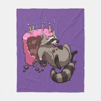 Greedy Raccoon Full of Birthday Cake Cartoon Fleece Blanket