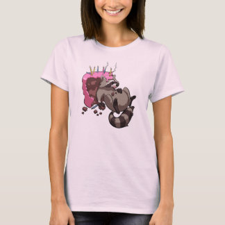 Greedy Raccoon Full of Birthday Cake Cartoon T-Shirt