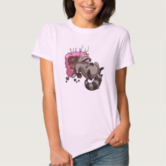 Greedy Raccoon Full of Birthday Cake Cartoon Tshirt