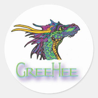 GreeHee The Deep Thinking Dragon Classic Round Sticker