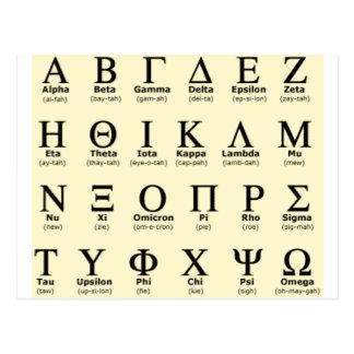 greek alphabet gifts postcard
