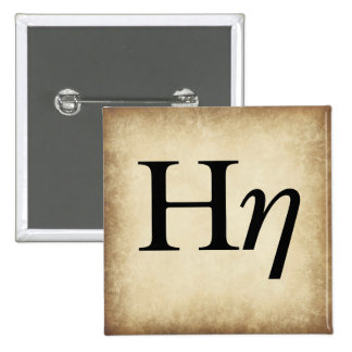 Greek Alphabet Letter Eta 15 Cm Square Badge