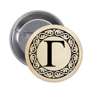 Greek Alphabet Letter Gamma 6 Cm Round Badge