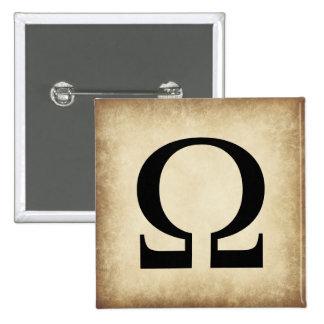Greek Alphabet Letter Omega 15 Cm Square Badge