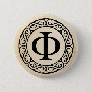 Greek Alphabet Letter Phi 6 Cm Round Badge