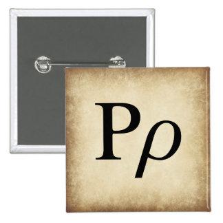 Greek Alphabet Letter Rho 15 Cm Square Badge