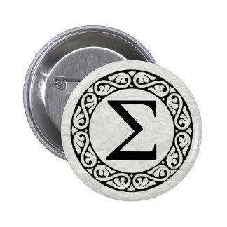 Greek Alphabet Letter Sigma 6 Cm Round Badge
