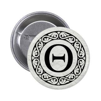 Greek Alphabet Letter Theta 6 Cm Round Badge