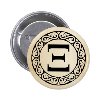 Greek Alphabet Letter Xi 6 Cm Round Badge