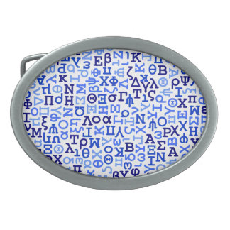 Greek alphabet oval belt buckle
