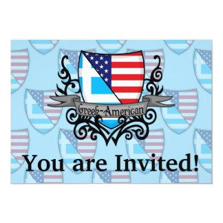 Greek-American Shield Flag 13 Cm X 18 Cm Invitation Card