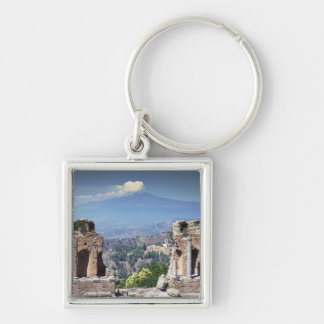 Greek Amphitheatre 2 Silver-Colored Square Key Ring