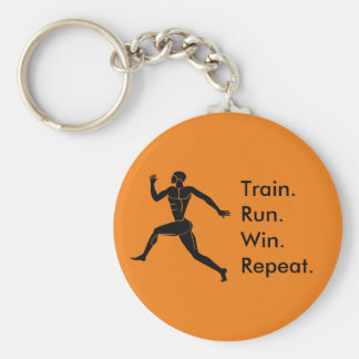 Greek Athlete Running Winning Formula Orange Key Ring