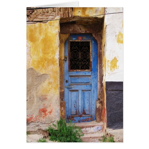 Greek Blue Door - Crete Card