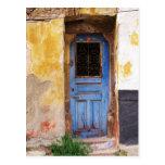 Greek Blue Door - Crete Postcard