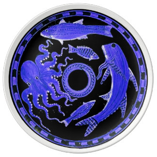 Greek blue sea animals plate