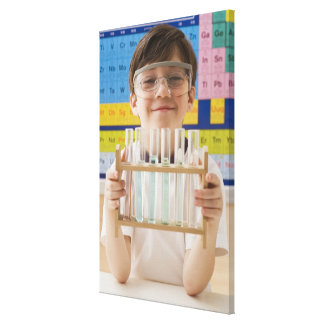 Greek boy holding rack of test tubes canvas print