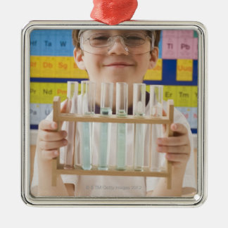 Greek boy holding rack of test tubes Silver-Colored square decoration