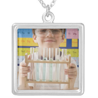 Greek boy holding rack of test tubes silver plated necklace