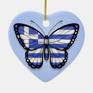 Greek Butterfly Flag on Blue Christmas Ornament
