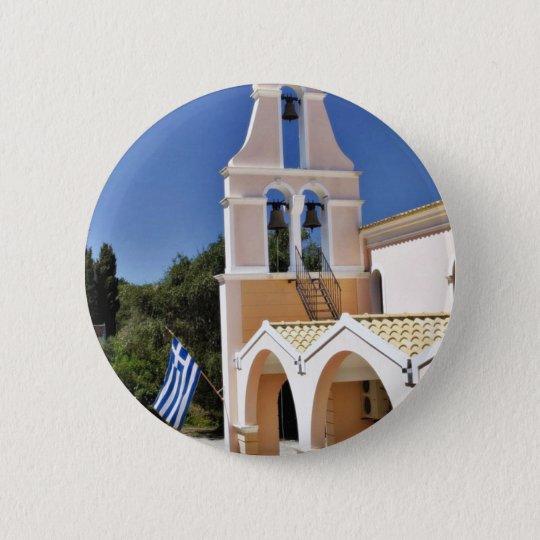 Greek Church In A Summer Day 6 Cm Round Badge