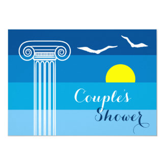 Greek column & seagulls wedding couples shower 13 cm x 18 cm invitation card
