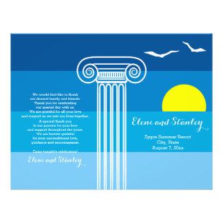Greek columns and seagulls beach wedding program 21.5 cm x 28 cm flyer