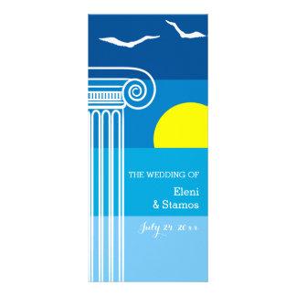 Greek columns and seagulls beach wedding program rack card design