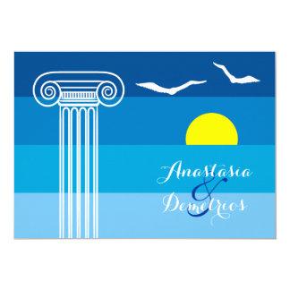Greek columns and seagulls tropical beach wedding 13 cm x 18 cm invitation card