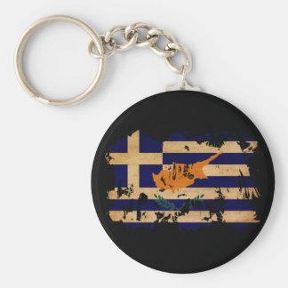 Greek Cyprus Flag Basic Round Button Key Ring