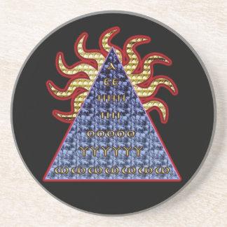 greek descending letter amulet coaster