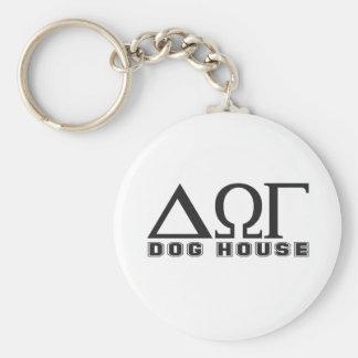 Greek Dog House Basic Round Button Key Ring