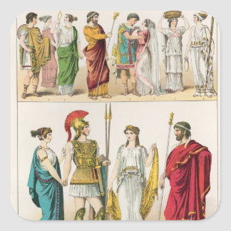 Greek Dress, from 'Trachten der Voelker, 1864 Square Sticker