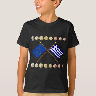 Greek Euros and EU & Greece Flags T-Shirt