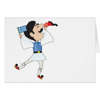 Greek Evzone dancing with Flag Greeting Card