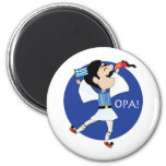 Greek Evzone dancing with Flag OPA! 6 Cm Round Magnet