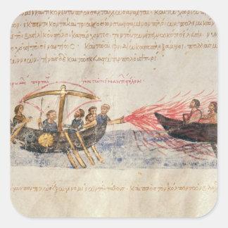 Greek fire (vellum) square sticker
