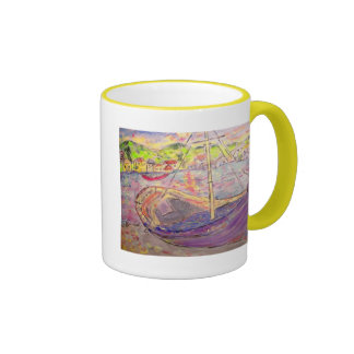 greek fishing village sunset ringer mug