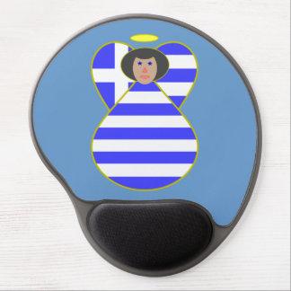 Greek Flag Angel Black Hair Gel Mouse Mats