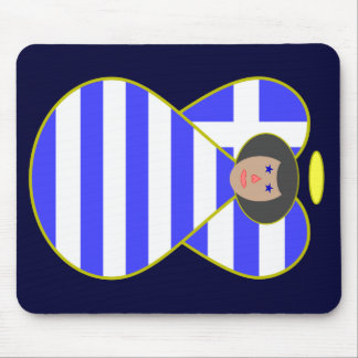 Greek Flag Angel Black Hair Mousepad