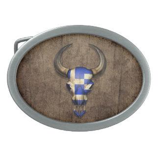 Greek Flag Bull Skull on Wood Effect Belt Buckle