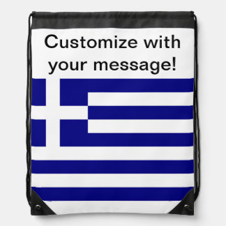 Greek Flag Drawstring Backpacks