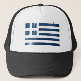 greek flag grunge stencil trucker hat
