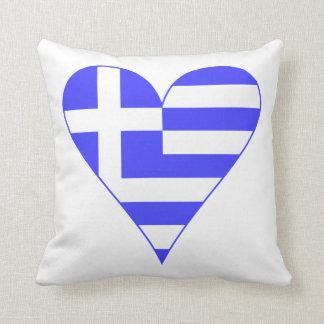 Greek Flag Heart Funky Cushion