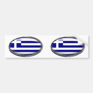 Greek Flag in Glass Oval Bumper Sticker