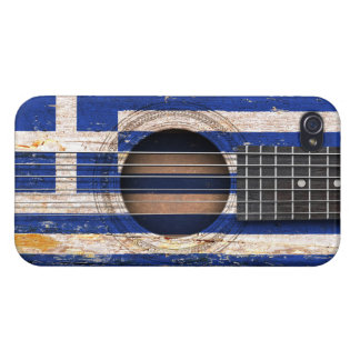 Greek Flag on Old Acoustic Guitar iPhone 4 Cover